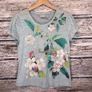 Kim Rogers Mint Green Graphic Floral T-shirt PL